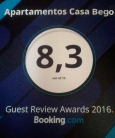 Premio 2016 de Booking.com a Apartamentos Casa Bego