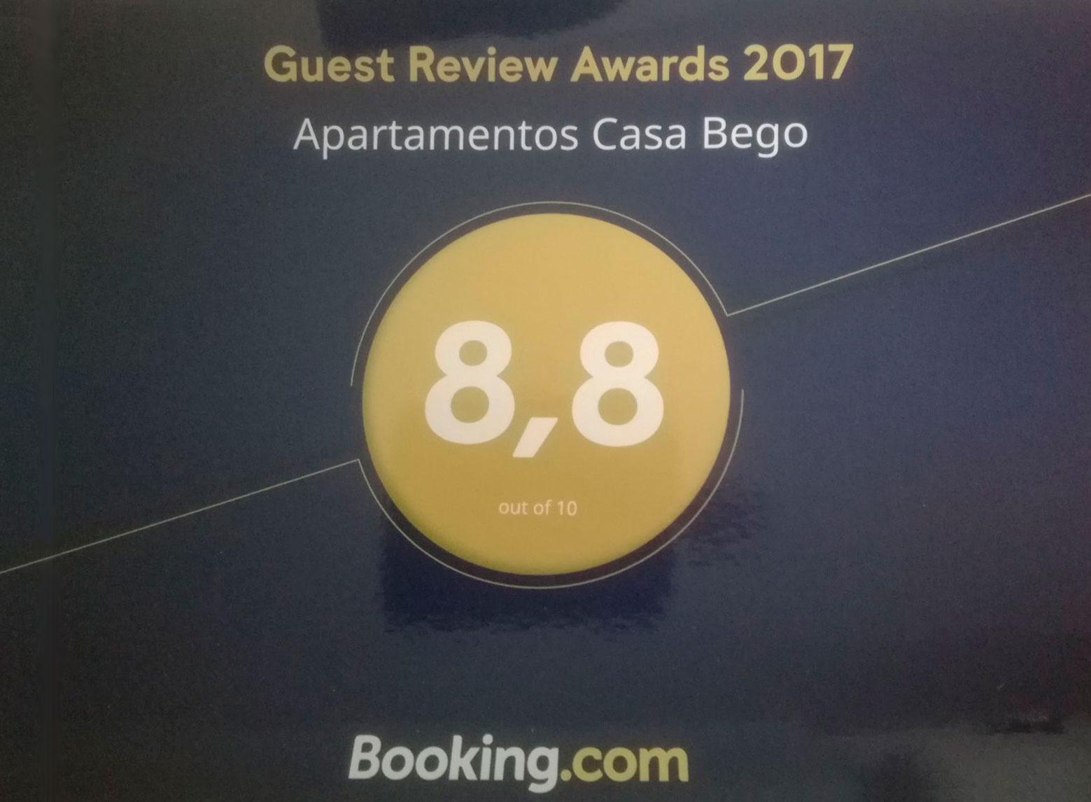 Premio 2017 de Booking.com a Apartamentos Casa Bego